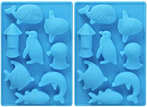2Pcs Sea Animals Ice Cube Mold - MoldFun Ocean Animals Whale Fish Dolphin Penguin Squid Silicone Mold for Baking Muffin Cake, Chocolate, Jello, Candy, Mini Soap, Lotion Bar, Plaster, Clay