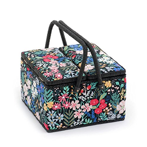 Hobby Gift 'Summertime' Twin Lid Large Square Sewing Box 25 x 25 x 17cm (d/w/h) by Hobby Gift