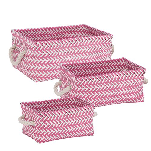 Honey-Can-Do STO-06688 Zig Zag Set of Nesting Baskets with Handles, Set of 3-Pack, Hot Pink
