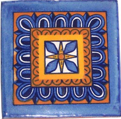 Amazon.com: 12 pintado a mano mexicano de Talavera Azulejos ...