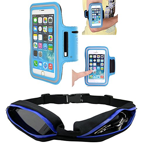 Sport Waist packs + Sports Armband - Ranboo Outdoor Sports Cycling Running Dual Pockets Belt Waist pack Waist bag / Armband for iphone 6 plus,iphone 6,5s,Samsung Galaxy Note 3 / Note 4 /S5 / Note Edge / LG G3 / Sony Xperia / Nokia Lumia/ Keys/ Credit cards (Blue Armband+Belt)