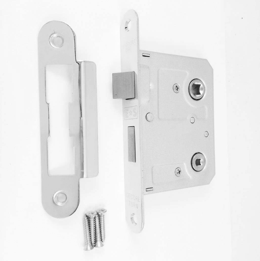 Radius Bathroom Mortice Lock Eurospec in Polish Nickel