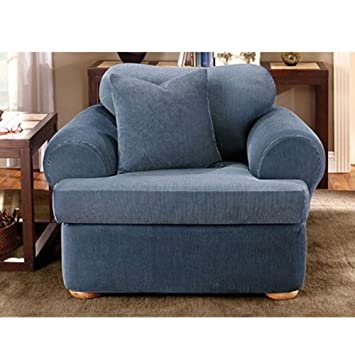 Sure Fit Stretch Stripe 2 Piece   Chair Slipcover   Navy (SF37731)
