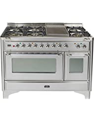 Ilve UM120FDMPIX 48 Dual Fuel Range with Griddle 7 Semi-Sealed Burners Multi-Function European Convection Oven Electric Oven 2 Rotisseries and Warming Drawer: Stainless Steel with Chrome