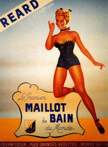 CALIFORNIA GIRL IN SWIMSUIT MAILLOT BAIN REARD VINTAGE POSTER REPRO ()