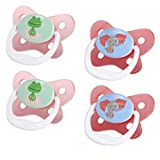 Dr. Brown's PreVent Contour Pacifier, Stage 2 (6-12m), Polka Dots Pink, 4-Pack