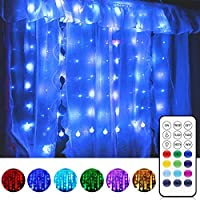 LED Curtain Lights, 3M-Long with USB Remote Control 80 LED Lights 10 Twinkle Bulbs, Indoor Outdoor Decorative Wall...