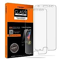 Protector de pantalla Spigen Tempered Glass Moto Z2 Force [Case Friendly] [Dureza 9H] para Moto Z2 Force Edition (2017) (paquete de 2)