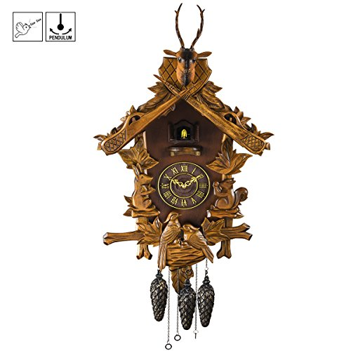 Kintrot Large Black Forest Cuckoo Clock Hunter Carved Clock Wooden Handcrafted Clock 23.5 Inch