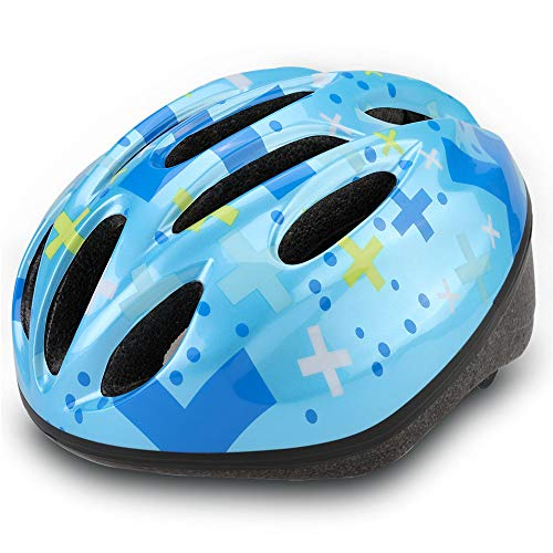 Dostar Kids Bike Helmet, CPSC Certified Lightweight Impact Resistance Adjustable Helmet for Ages 5-14, Multi-Sports Safe Durable Comfortable Bicycle Skateboard Helmets (Blue-shizi02)
