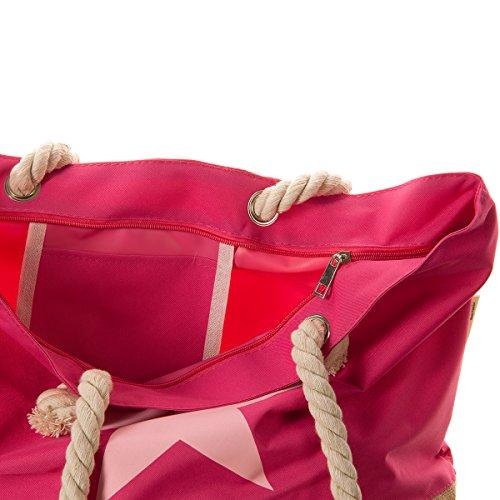 XXL Strandtasche mit Stern Strand Tasche Beach Bag Shopper Größe ca. 54 x 37 x 19cm Pink mit Rosa Stern