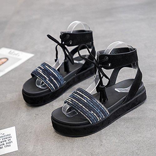 QQWWEERRTT Mode Römischen Sandalen Weiblichen Sommer Neue Flache Student Universal Verband Plattform Schuhe Dicke Unterseite