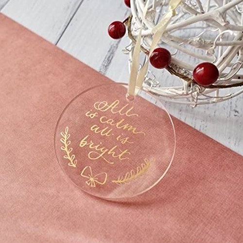 UNIQOOO 20 Count Blank Round Clear Acrylic Ornament - Hanging Tag Ornaments for Christmas Tree, Wedding Decoration, Xmas Gifts, Holiday Party Events, Table Numbers and Place Cards, 2 3/4 inch