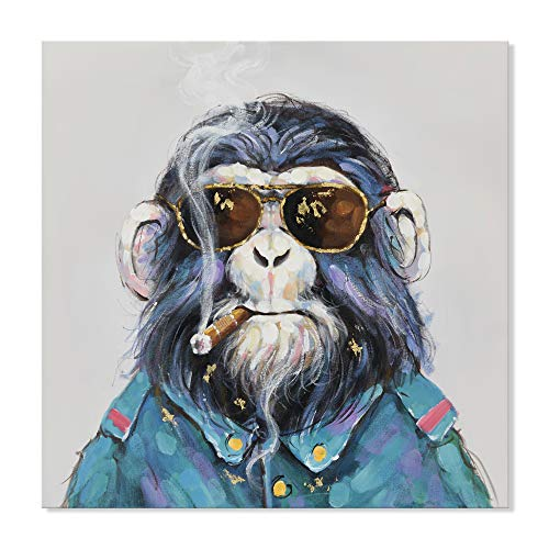 SEVEN WALL ARTS - Modern Cute Gorilla Monkey Animal Paintings Cool Smoking Chimp with Sunglasses Artworks Ready to Hang for Living Room 24 x 24 ()