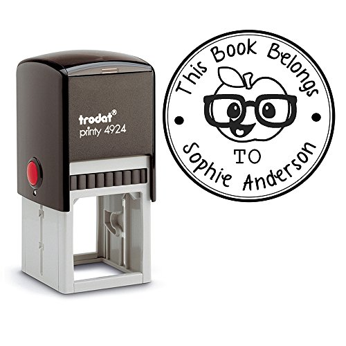 Apple Book Stamps This Belongs To, Self Inking Stamp, Property of Stamp, Book Stamp Self Inking, Book Name Labels, Book Stamp From the Library of, School s, Book Name Stamp, Customized by Pixie Perfect Stamps