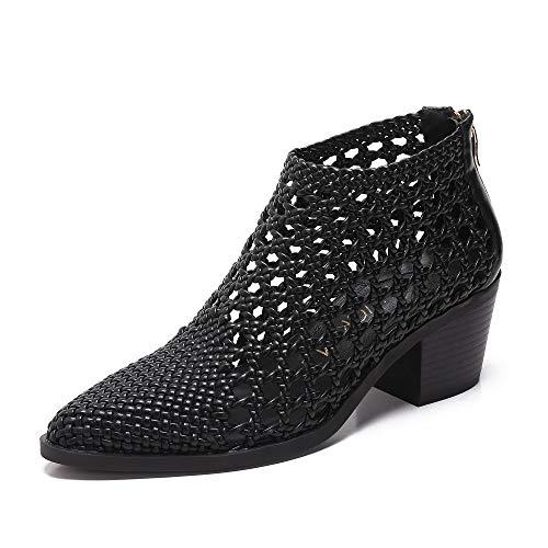 (MACKIN J 381-2 Women's Plait Sandlas Hand Crafted Woven Block Heeled Bootie (10,)