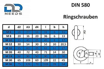 DIN 580 aus Edelstahl A2 V2A Ringschrauben M8 gegossen und poliert /ähnl VPE: 2 St/ück /Ösenschraube D2D