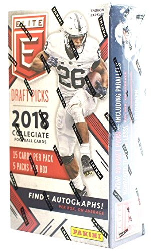 2018 Panini Elite Collegiate Draft Picks Football HOBBY box (5 pk, FIVE Autograph cards per box) (Elite Basketball Card Box)