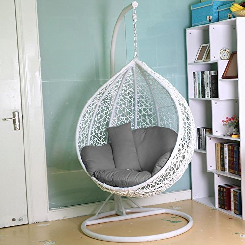 tinkertonk Rattan Swing Chair Patio Garden Wicker Hanging Egg Chair Hammock w/Cushion & Cover Indoor or Outdoor---Max.150kg White