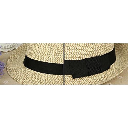 a6ad3a0a209e5 Leisial Pareja Sombrero de Paja Playa Jazz Panama Estilo Británico Deporte  al Aire Libre Gorro del