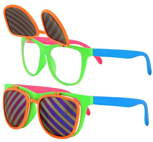 Flip Up Neon Hipster Costume Glasses for Men by elope