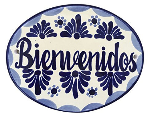 (Casa Fiesta Designs Bienvenidos Talavera Ceramic Large House Tile Sign - Handmade - 10