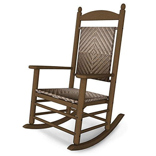 (Rocker Jefferson Woven Chair Seat/Back Finish: Cahaba, Frame Finish: Teak)