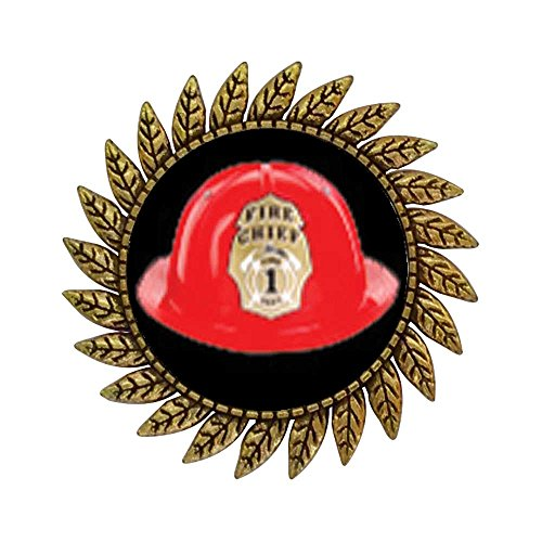 [GiftJewelryShop Ancient Style Gold-plated Fire Chief Helmet Hot Style Gear Round Pin Brooch] (Helmet Style Pin)