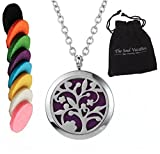 essential oil starter kit doterra - 'Tree of Life' Essential Oil Diffuser Necklace Aromatherapy Pendant, Velvet Jewelry Bag, Extra Pads