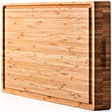 PREMIUM Bamboo Cutting Board & Professional Heavy Duty Butcher Block w/ Juice Groove - Extra Large (17'x13'x1.5') Antibacterial, Organic, End Grain Chopping Block. Ideal Serving Tray for Meat & Cheese