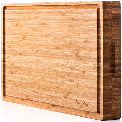 EXTRA LARGE Organic Bamboo Cutting Board & Thick Butcher Block w/Juice Groove - 17x13x1.5
