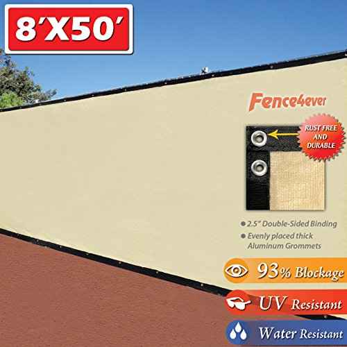 Fence4ever 8' x 50' 3rd Gen Tan Beige Fence Privacy Screen Windscreen Shade Fabric Mesh Tarp (Aluminum Grommets)