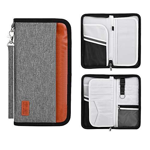 Family Travel Passport Holder Wallet RFID Blocking Document Tickets Organizer with Zipper for Woman & Man Fit 5 Passports (Grey)