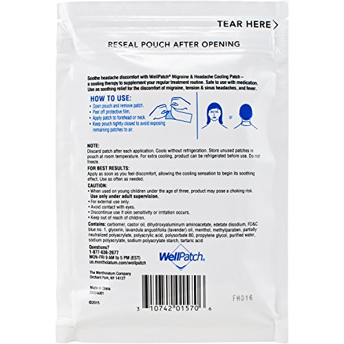 WellPatch Migraine & Headache Cooling Patch - Drug Free, Lasts Up to 12 hours, Safe to Use with Medication - Large Patches (4 Large Patches), Each 4.3 x 2 in by WellPatch (Image #5)