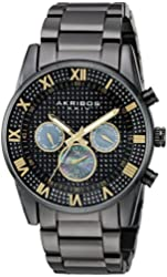 Akribos XXIV Men's Swiss Quartz Crystal Pave Dial with Mother-of-Pearl Multi-Function Sub dials on Black Stainless Steel Bracelet Watch AK939BK