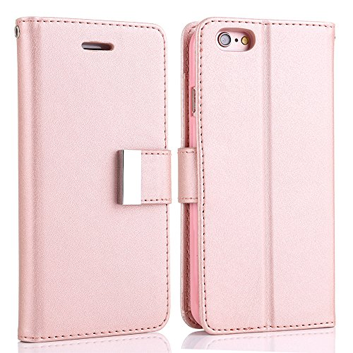 For iPhone SE Case,L-FADNUT Luxury Folio Flip Fabric Leather Case,[Dual Card Slots][Metal Megnetic Closure] with Stand Wallet Card Holder Case Cover For iPhone 5/5s/SE - Rose Gold
