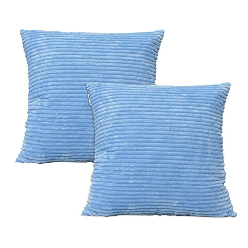 Set of 2 Natus Weaver Solid Supersoft Corduroy Handmade Decorative Velvet Throw Pillow Cushion Cover With Zipper for Bed, Light Blue, 18