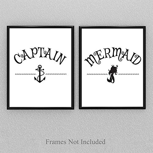 Captain and Mermaid - 11x14 Unframed Typography Art Print - Great Wedding Gift, Bedroom Decor or Yacht Decor Under $15 (Yacht Antique)
