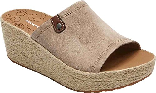 Rockport Women's Lanea Slide Platform Sandal, Taupe Faux Suede, 6 M US