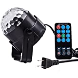 YaFex Mini Disco DJ Stage Lights 7 Colors Glitter Ball LED Sound Activated 3W Strobe Light RGB Mirror Ball Disco KTV Xmas Bar Club Christmas DJ Pub with Remote