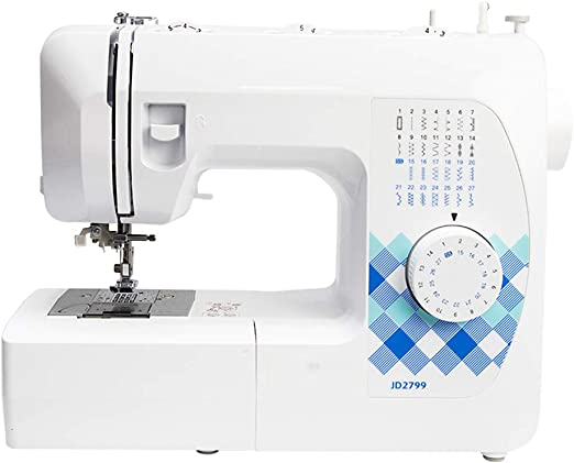 Máquina de coser eléctrica portátil, máquina de coser doméstica de 27 puntadas para trabajo pesado con pedal e ...