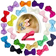 Baby Bows Clips Girls Hair Alligator Clip Fully 2 Inch Lined Grosgrain Tiny Ribbon Pin Wheel Infants Toddlers Hair Accessories 20 PCs