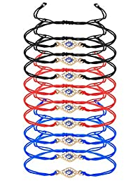 Finrezio 9 Pcs Evil Eye Braided Cord Bracelets for Women Men Rosary Protection Bracelet Set Catholic Gifts Religious Jewelry Red/Black/Blue String