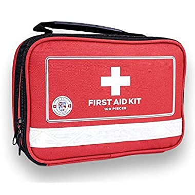 First Aid Kit For Survival and Minor Emergencies (100 Pieces) Light, Compact, and Comprehensive - Perfect for Home, Auto, Road Trips, Camping, or Any Other Outdoors Activities