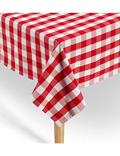 American Summertime Gingham Tablecloth 100% Cotton | Premium Quality | Red/White Checkered Square Tablecloth 52 x 52 | Stitched 1 Hem | Extra Heavyweight | Machine Washable for Mom