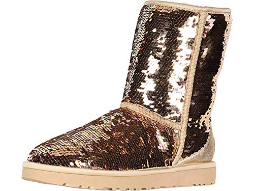 UGG Women's W Classic Short Sequin Fashion Boot, Gold Combo, 8 M US ()