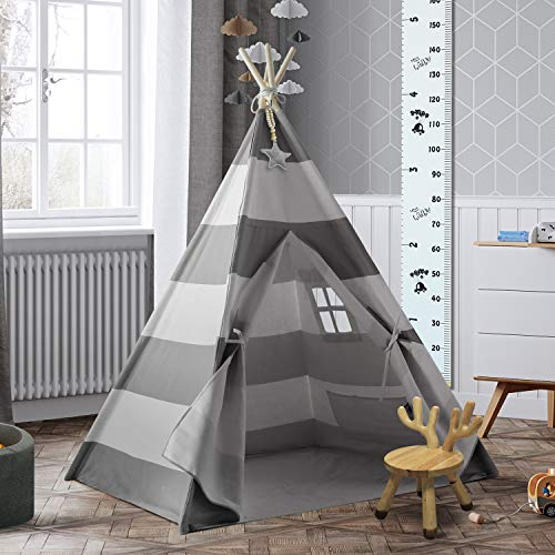 (UKadou Kids Teepee Tent for Girls Boys - with Teepee Stabilizer, Fairy Lights, Lovely Star Decor & Growth Chart Ruler (Grey & White Striped) )