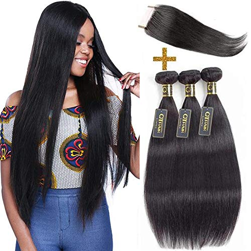 "QTHAIR 10A Brazilian Straight Hair 3 Bundles with 4x4 Lace Closure(16"" 18"" 20"" with 14"" Free Part Closure,Natural Black) 100% Unprocessed Brazilian Virgin Hair Straight Weave With Swiss Lace Closure"