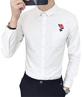a5a1ed67ba3 BYWX Men Slim Fit Casual Long Sleeve Embroidery Lapel Collar Button Down  Blouse Shirt Tops White