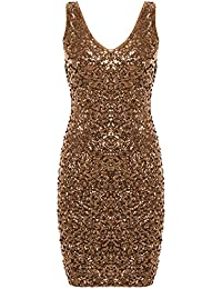 Women s Sexy Deep V Neck Sequin Glitter Bodycon Stretchy Mini Party Dress 843420f26fa3